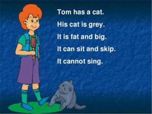 Tom has a cat. His cat is grey. It is fat and big. It can sit and skip. It ca