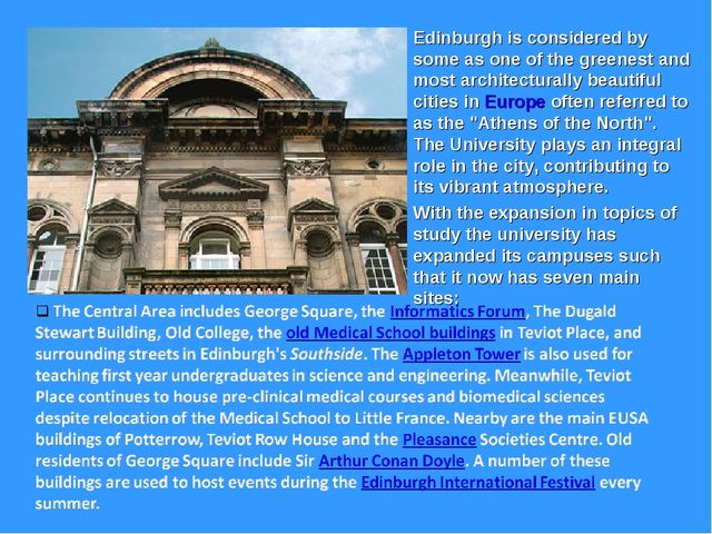 Edinburgh is considered by some as one of the greenest and most architectural...