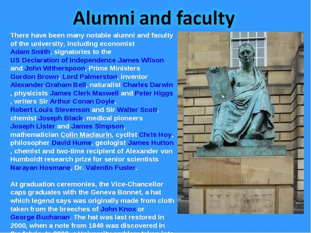 There have been many notable alumni and faculty of the university, including...
