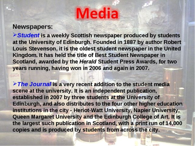 Newspapers: Student is a weekly Scottish newspaper produced by students at th...
