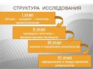 СТРУКТУРА ИССЛЕДОВАНИЯ I этап объект – предмет – гипотеза - целеполагание II