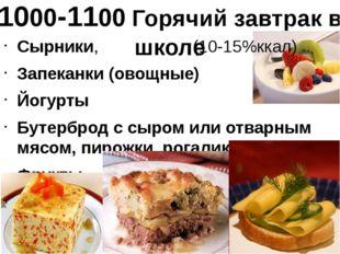 1000-1100 Горячий завтрак в школе Сырники, (10-15%ккал) Запеканки (овощные) Й
