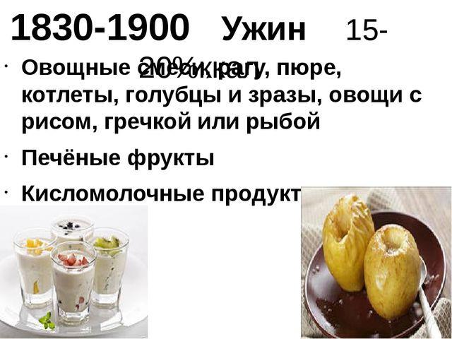 1830-1900 Ужин 15-20%ккал Овощные смеси, рагу, пюре, котлеты, голубцы и зразы...