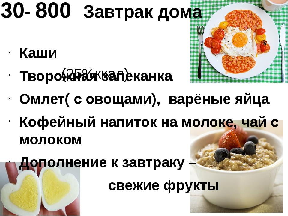 730- 800 Завтрак дома (25%ккал) Каши Творожная запеканка Омлет( с овощами), в...