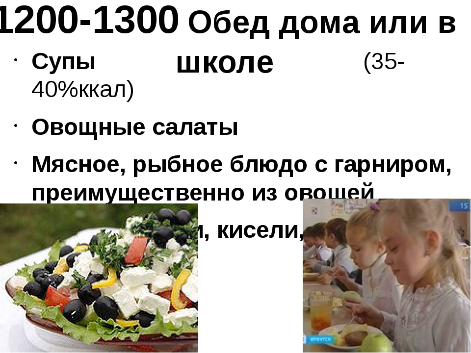 1200-1300 Обед дома или в школе Супы (35-40%ккал) Овощные салаты Мясное, рыбн...