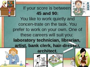 If your score is between 45 and 90: You like to work quietly and concentrate