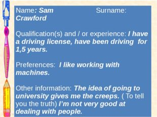 Name:SamSurname:Crawford Qualification(s) and / or experience:I have a drivin