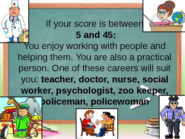 If your score is between 5 and 45: You enjoy working with people and helpin...