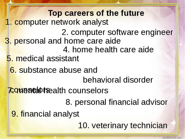 Top careers of the future 1. computer network analyst 2. computer software en...