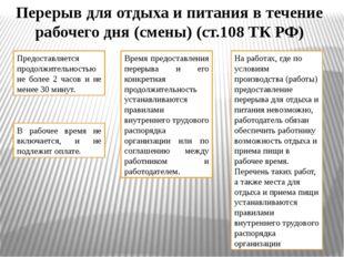 Перерыв для отдыха и питания в течение рабочего дня (смены) (ст.108 ТК РФ) Пр