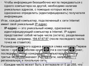 Чтобы информация безошибочно могла передаваться с одного компьютера на другой