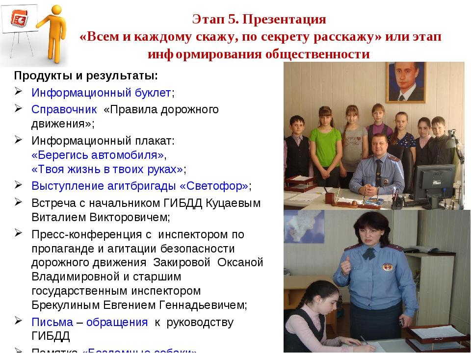 Этап 5. Презентация «Всем и каждому скажу, по секрету расскажу» или этап ин...