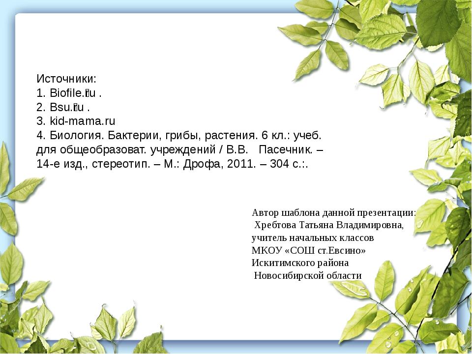 Источники: 1. Biofile.ru. 2. Bsu.ru. 3. kid-mama.ru 4. Биология. Бакте...