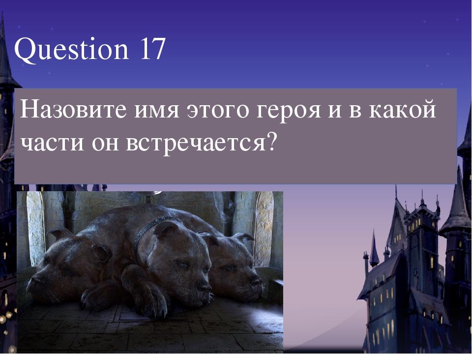 Question 17 Назовите имя этого героя и в какой части он встречается?
