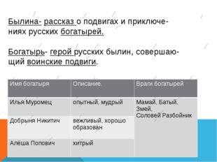 Былина- рассказ о подвигах и приключе- ниях русских богатырей. Богатырь- геро