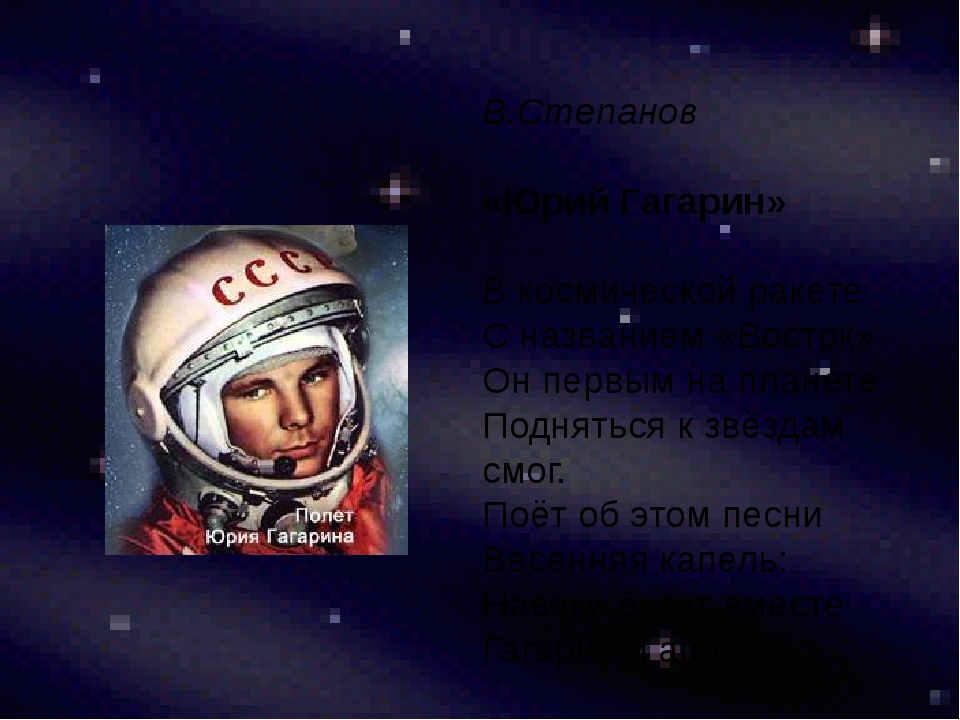 В.Степанов «Юрий Гагарин» В космической ракете С названием «Восток» Он первы...