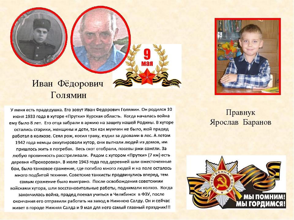 Иван Фёдорович Голямин Правнук Ярослав Баранов