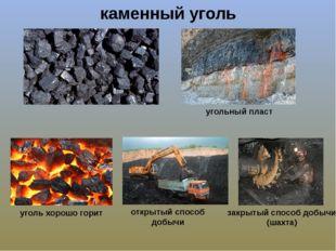 каменный уголь угольный пласт открытый способ добычи закрытый способ добычи (
