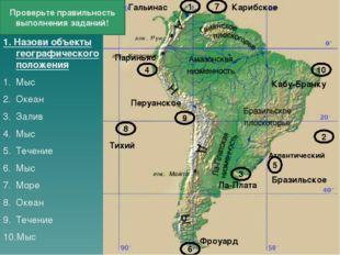 1. Назови объекты географического положения Мыс Океан Залив Мыс Течение Мыс М