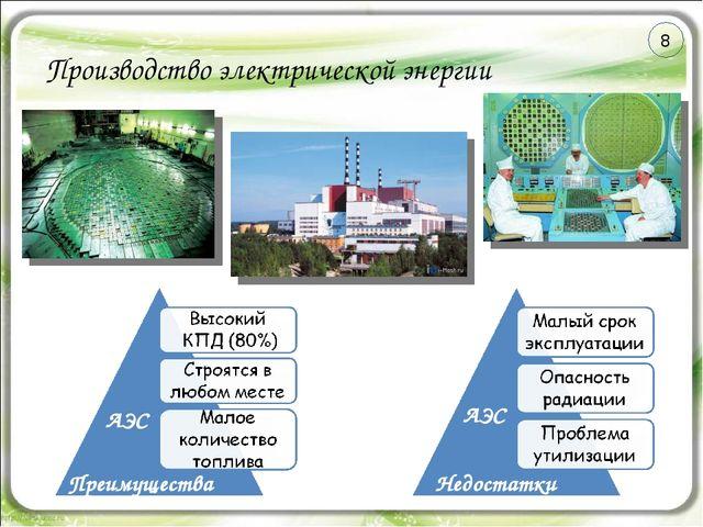Производство электрической энергии Преимущества Недостатки АЭС АЭС 8