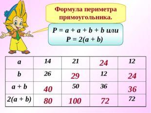 Формула периметра прямоугольника. P = a + a + b + b или P = 2(a + b) 40 80 29