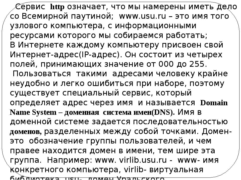 Сервис http означает, что мы намерены иметь дело со Всемирной паутиной; www....