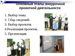 Основные этапы внеурочной проектной деятельности 1. Выбор темы. 2. Сбор свед