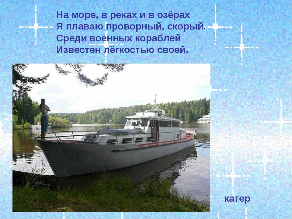 На море, в реках и в озёрах Я плаваю проворный, скорый. Среди военных корабле...