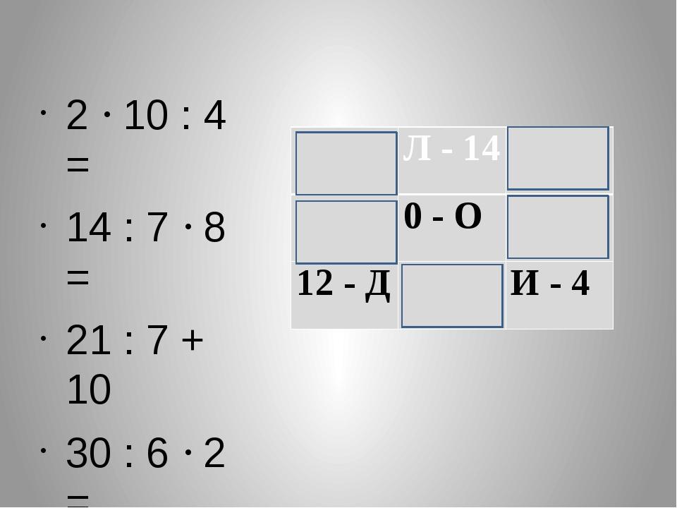 2  10 : 4 =  14 : 7  8 = 21 : 7 + 10  30 : 6  2 = 10: 10 = 5 - А Л - 1...