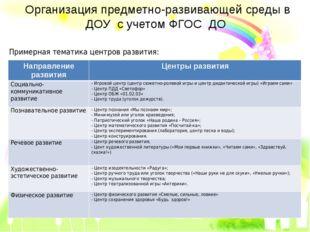 Организация предметно-развивающей среды в ДОУ с учетом ФГОС ДО Примерная тема