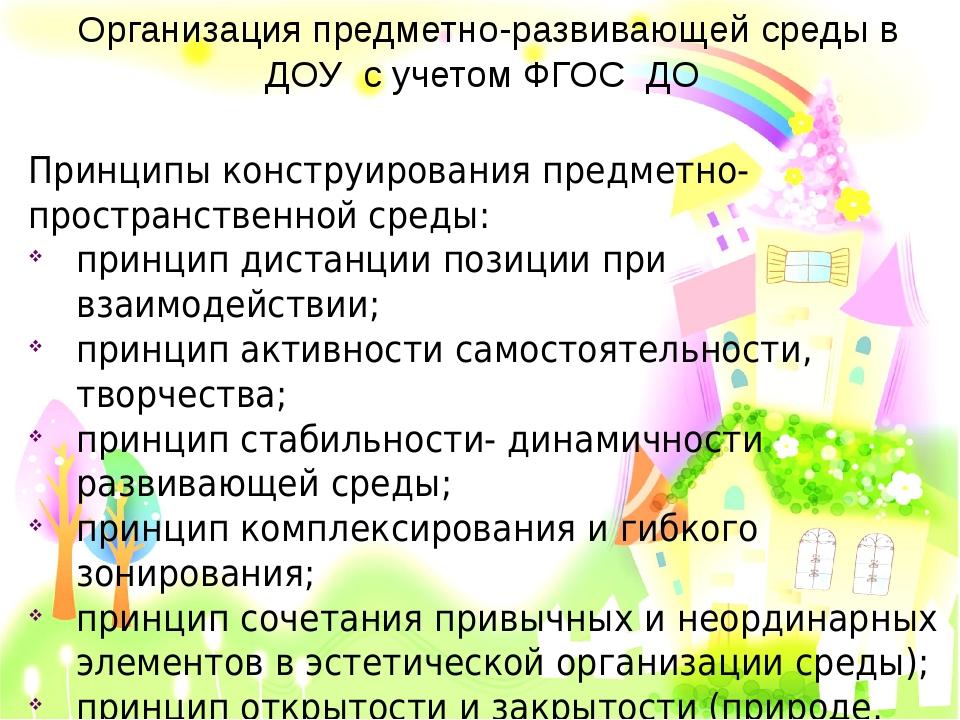 Организация предметно-развивающей среды в ДОУ с учетом ФГОС ДО Принципы конст...