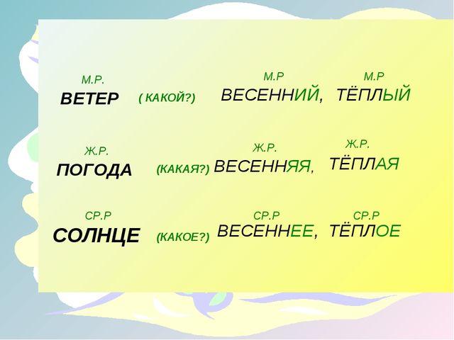 ВЕТЕР ( КАКОЙ?) М.Р. ВЕСЕННИЙ, ТЁПЛЫЙ М.Р М.Р ПОГОДА (КАКАЯ?) ВЕСЕННЯЯ, ТЁПЛ...