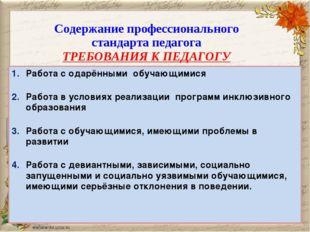 Содержание профессионального стандарта педагога ТРЕБОВАНИЯ К ПЕДАГОГУ Работа