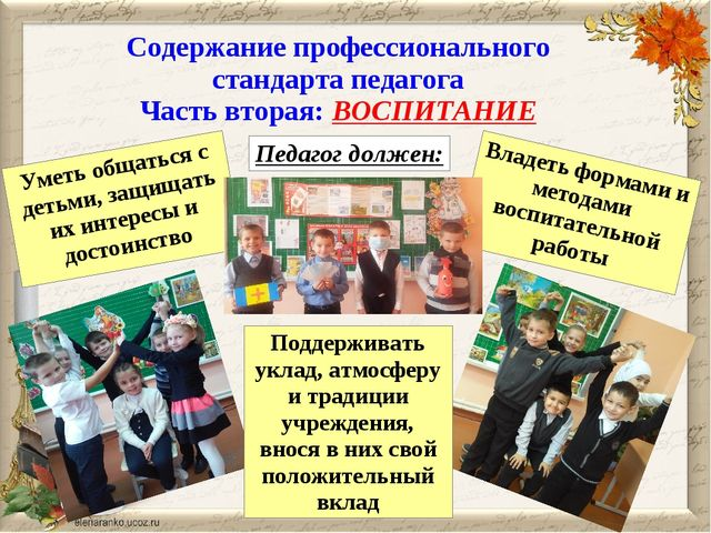 Содержание профессионального стандарта педагога Часть вторая: ВОСПИТАНИЕ Педа...