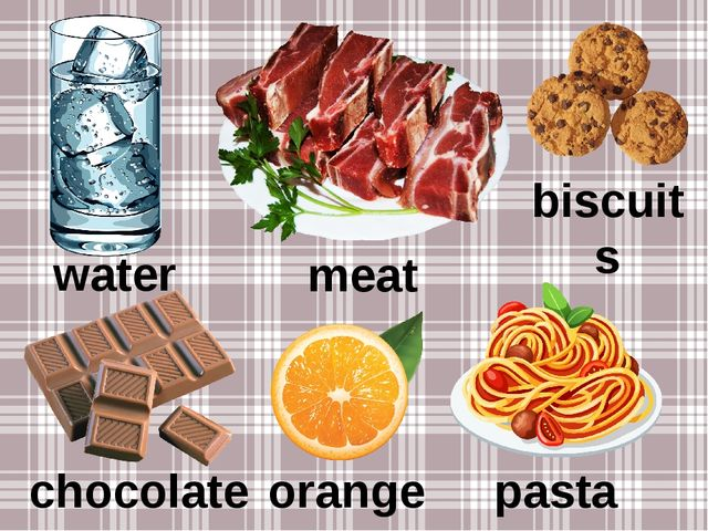 water meat biscuits chocolate orange pasta