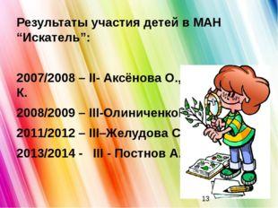 """Результаты участия детей в МАН """"Искатель"""": 2007/2008 – ІІ- Аксёнова О., Олини"""