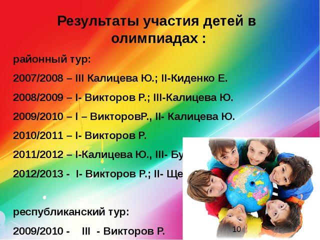 Результаты участия детей в олимпиадах : районный тур: 2007/2008 – ІІІ Калицев...