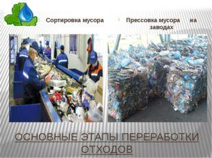 ОСНОВНЫЕ ЭТАПЫ ПЕРЕРАБОТКИ ОТХОДОВ Сортировка мусора Прессовка мусора на заво