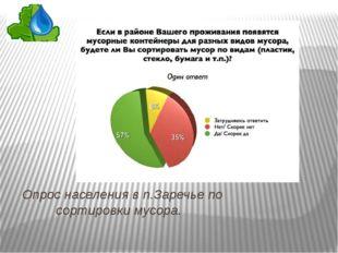 Опрос населения в п.Заречье по сортировки мусора.