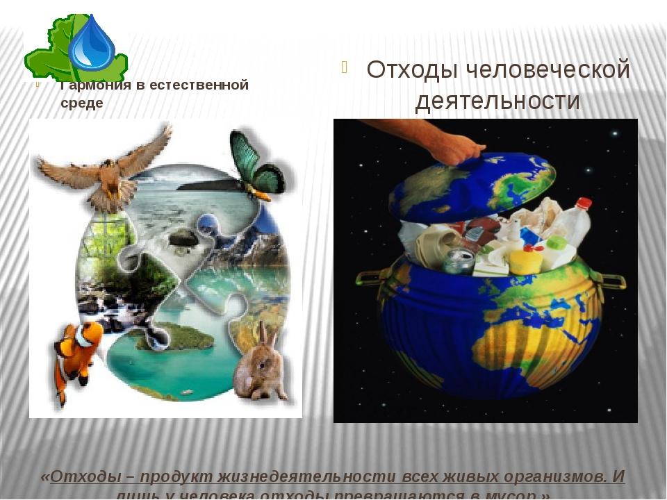«Отходы – продукт жизнедеятельности всех живых организмов. И лишь у человека...