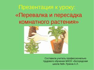 Презентация к уроку: «Перевалка и пересадка комнатного растения» Составила уч