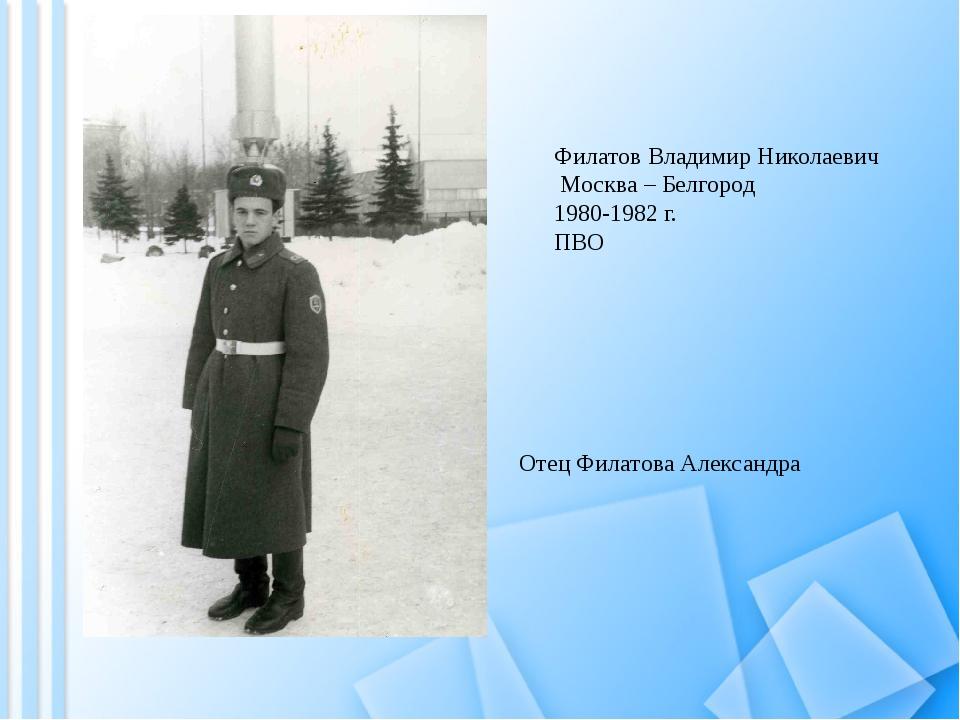 Филатов Владимир Николаевич Москва – Белгород 1980-1982 г. ПВО Отец Филатова...