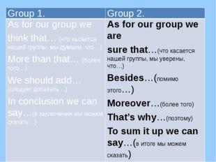 Group 1. Group 2. As for our group we think that…(что касается нашей группы,