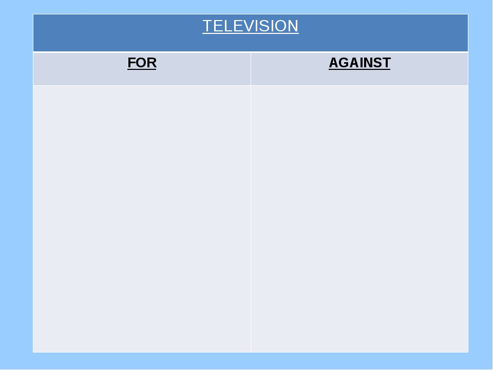 TELEVISION FOR AGAINST
