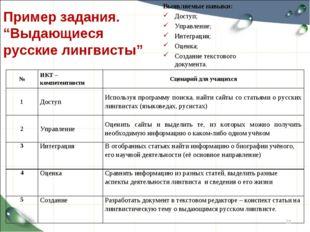 """Пример задания. """"Выдающиеся русские лингвисты"""" Выявляемые навыки: Доступ; Упр"""