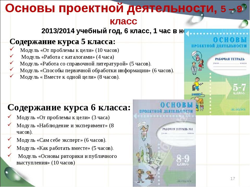 Основы проектной деятельности, 5 – 9 класс 2013/2014 учебный год, 6 класс, 1...