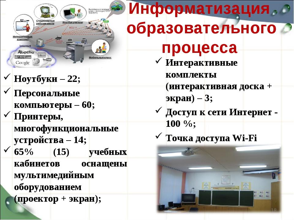 Информатизация образовательного процесса Ноутбуки – 22; Персональные компьюте...