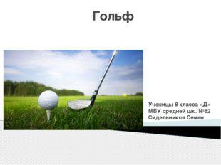 Гольф Ученицы 8 класса «Д» МБУ средней шк. №82 Сидельников Семен