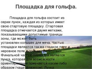 Площадка для гольфа. Площадка для гольфа состоит из серии лунок, каждая из ко