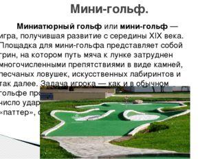 Миниатюрный гольфилимини-гольф— игра, получившая развитие с середины XIX